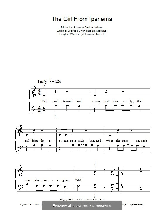 The Girl from Ipanema (Garota de Ipanema), for Piano: Version for easy piano by Antonio Carlos Jobim