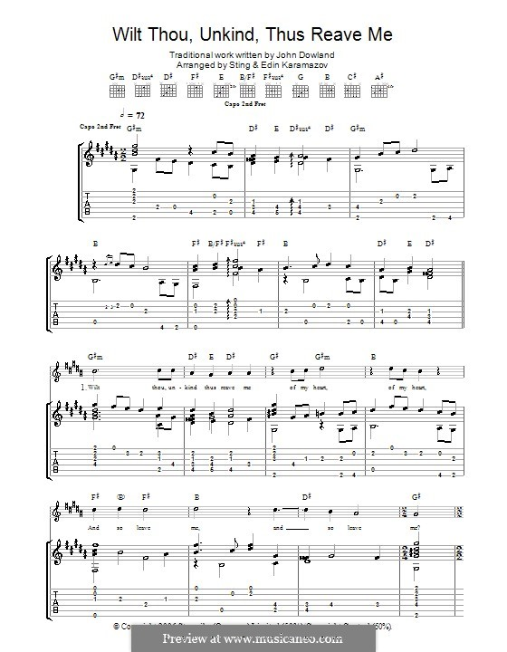 Wilt Thou Unkind Thus Reave Me: For guitar by John Dowland