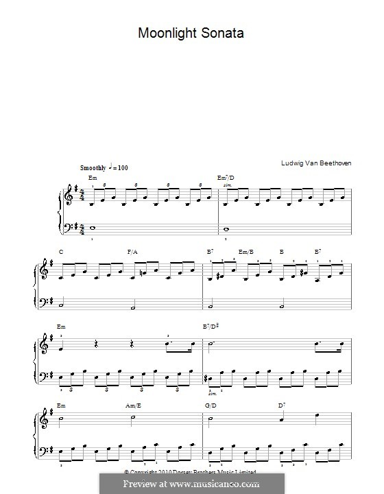 Movement I (Printable scores): For easy piano (with chords) by Ludwig van Beethoven