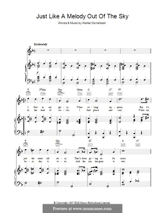 Just Like a Melody Out of the Sky: For voice and piano (or guitar) by Walter Donaldson