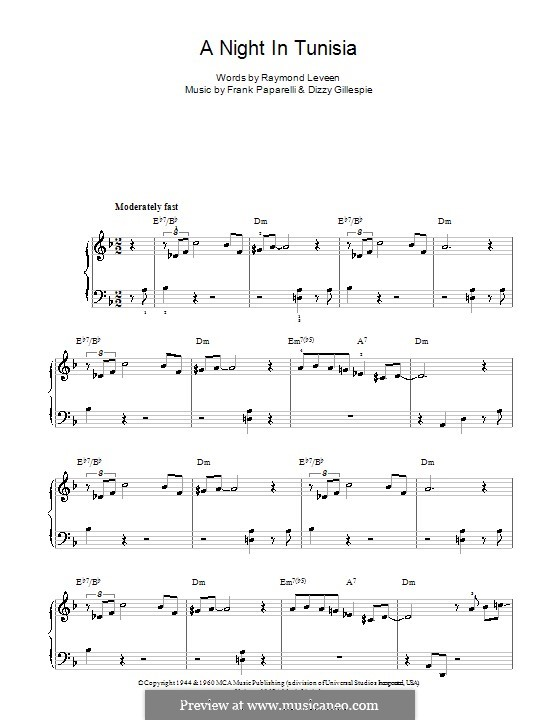 A Night in Tunisia: For easy piano by Dizzy Gillespie, Frank Paparelli