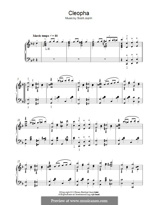 Cleopha: For piano by Scott Joplin