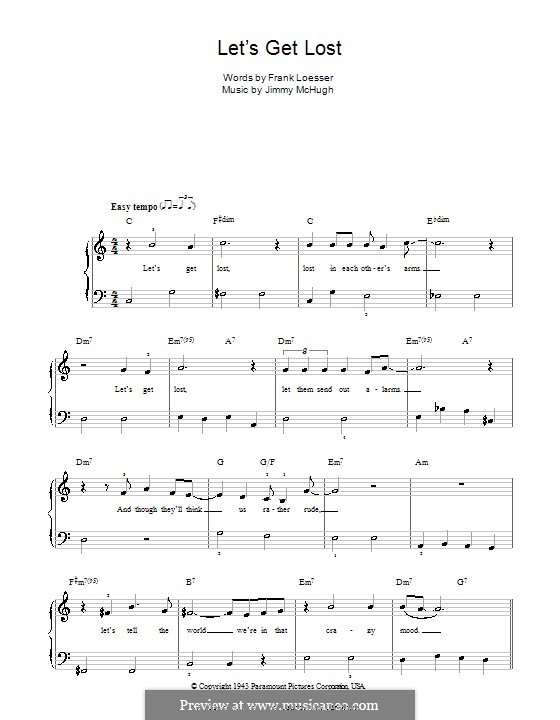 Let's Get Lost (Chet Baker): For easy piano by Jimmy McHugh