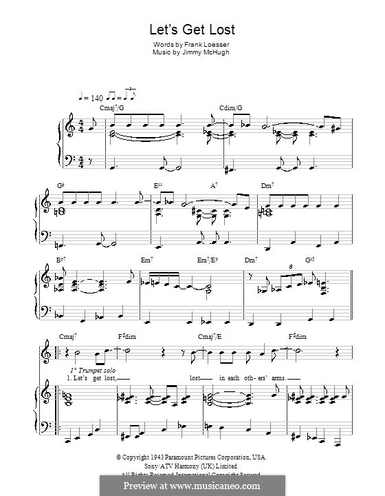Let's Get Lost (Chet Baker): For voice and piano (or guitar) by Jimmy McHugh
