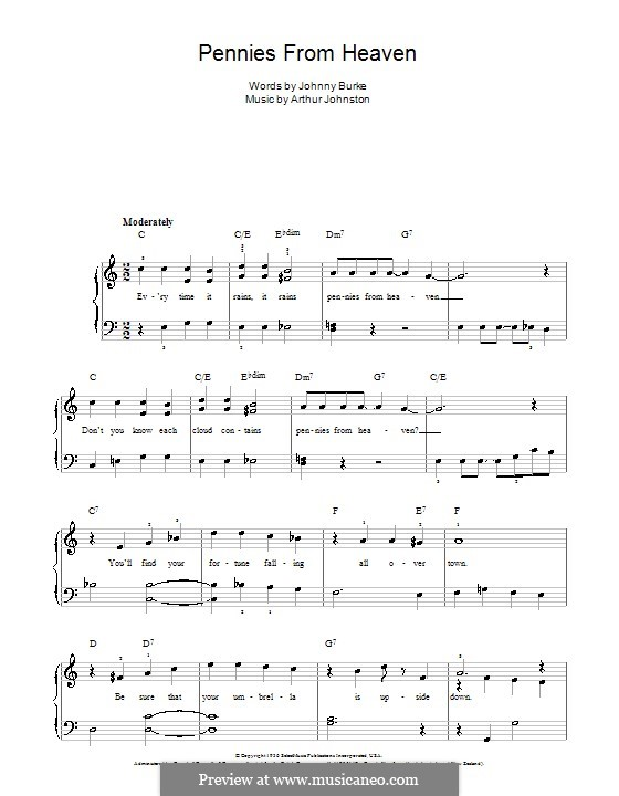 Pennies from Heaven (Bing Crosby): For easy piano by Arthur Johnston