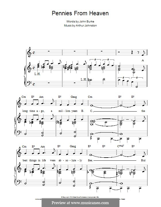 Pennies from Heaven (Bing Crosby): For voice and piano (or guitar) by Arthur Johnston