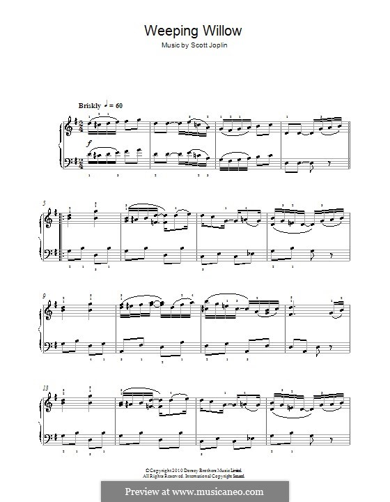 Weeping Willow: For piano (with fingering) by Scott Joplin