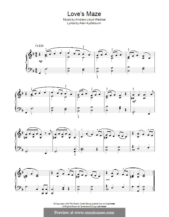 Love's Maze (from By Jeeves): For easy piano by Andrew Lloyd Webber