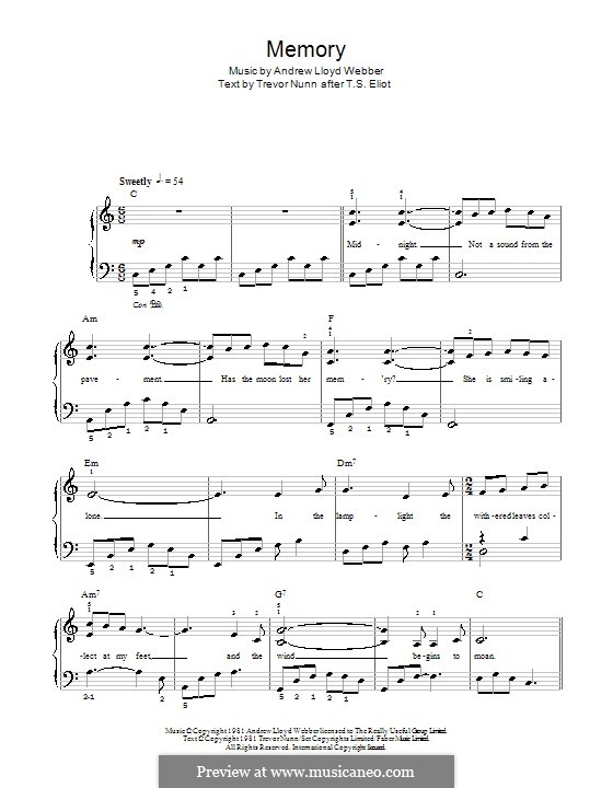 Memory (from Cats): For easy piano (with lyrics) by Andrew Lloyd Webber