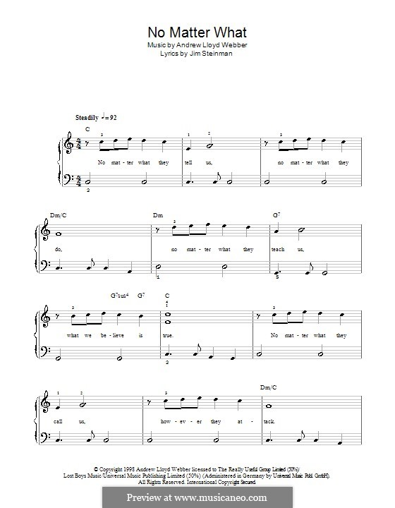 No Matter What (from Whistle Down the Wind): For easy piano (with lyrics) by Andrew Lloyd Webber