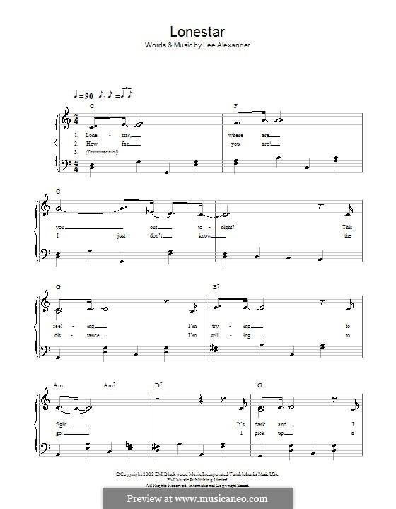 Lonestar (Norah Jones): For easy piano by Lee Alexander