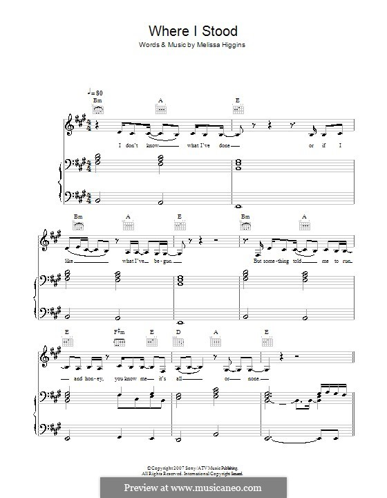 Where I Stood (Missy Higgins): For voice and piano (or guitar) by Melissa Higgins