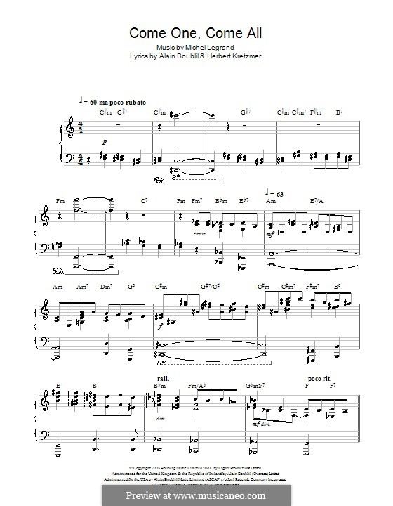 Come One, Come All (from Marguerite): For voice and piano (or guitar) by Michel Legrand
