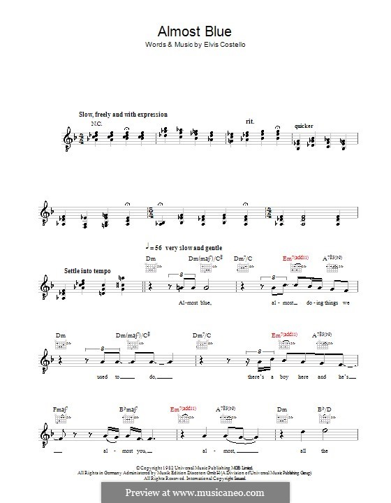 Almost Blue (Diana Krall): Melody line, lyrics and chords by Elvis Costello
