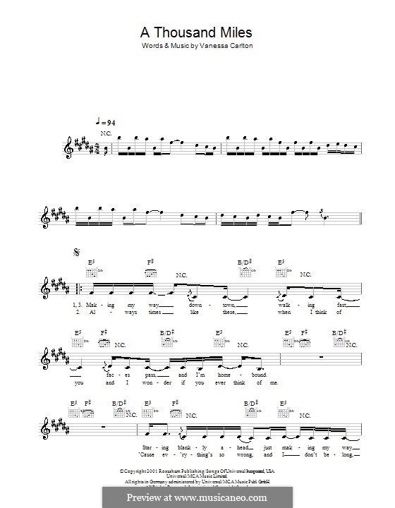 A Thousand Miles by V. Carlton - sheet music on MusicaNeo