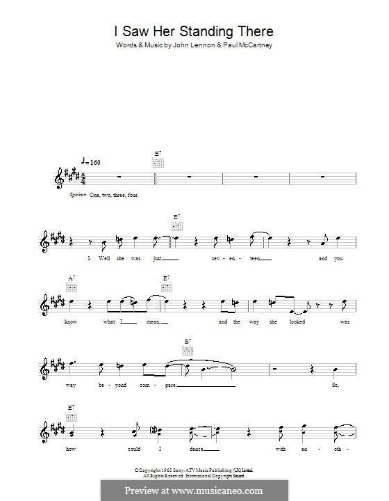 I Saw Her Standing There (The Beatles): Melody line, lyrics and chords by John Lennon, Paul McCartney