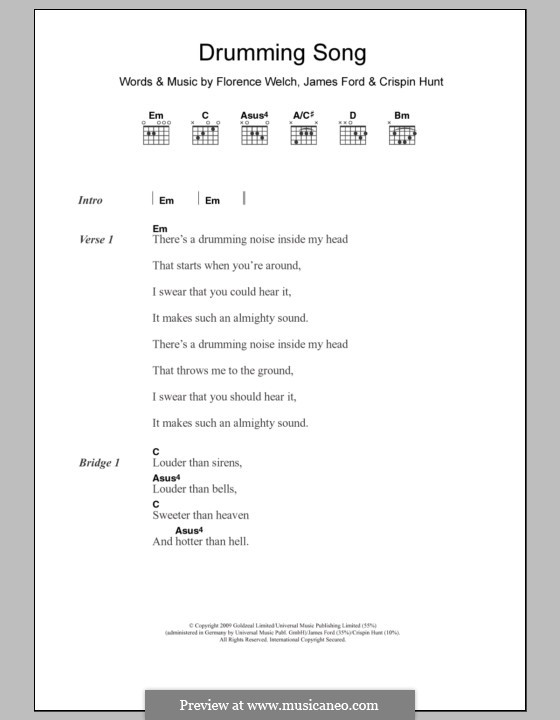 Drumming Song (Florence and The Machine): Lyrics and chords by James S. Ford, Crispin Hunt, Florence Welch