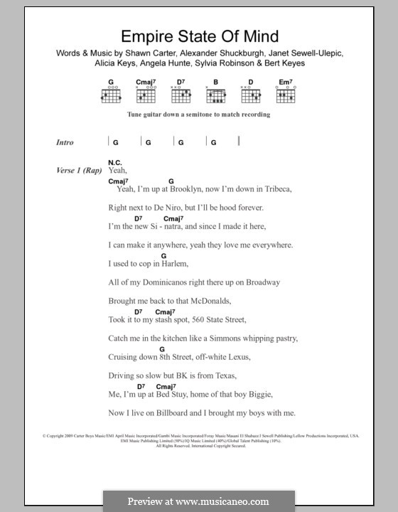 Empire State of Mind: Lyrics and chords by Alexander Shuckburgh, Alicia Keys, Angela Hunte, Bert Keyes, Janet Sewell-Ulepic, Jay-Z, Sylvia Robinson