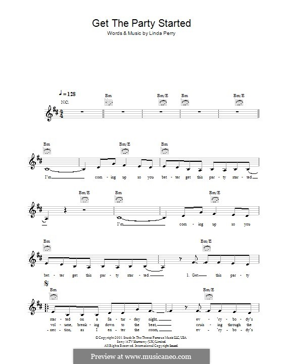 Get the Party Started (Pink): Melody line, lyrics and chords by Linda Perry