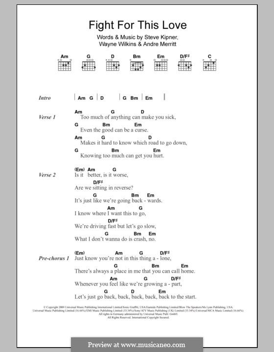 Fight for This Love (Cheryl Cole): Lyrics and chords by Andre Merritt, Stephen Alan Kipner, Wayne Wilkins