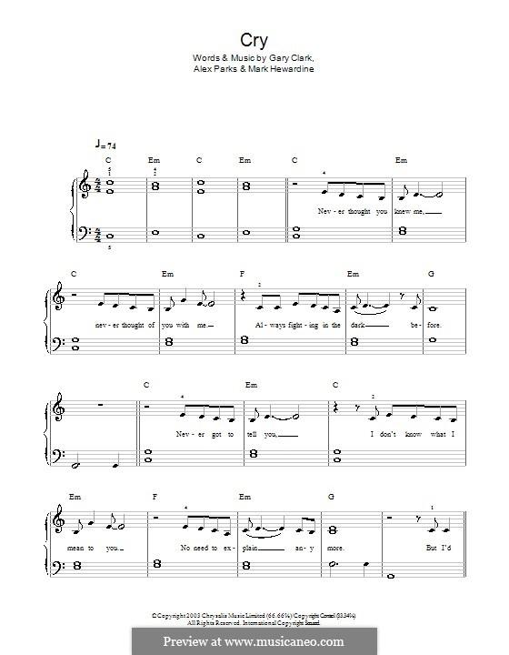 Cry: For easy piano by Alex Parks, Boo Hewerdine, Gary Clark, Mark Hewardine