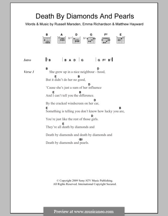 Death By Diamonds and Pearls (Band of Skulls): Lyrics and chords by Emma Richardson, Matthew Hayward, Russell Marsden