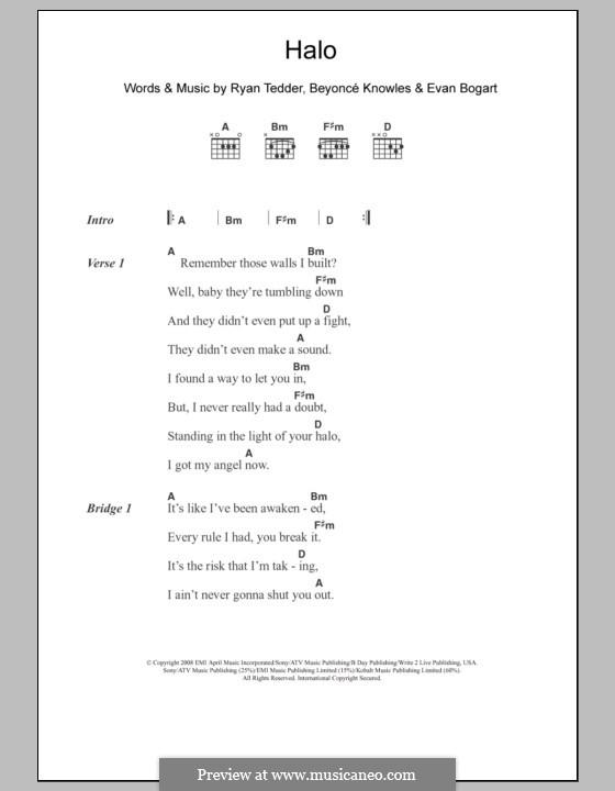 Halo: Lyrics and chords by Beyoncé, Evan Kidd Bogart, Ryan B Tedder