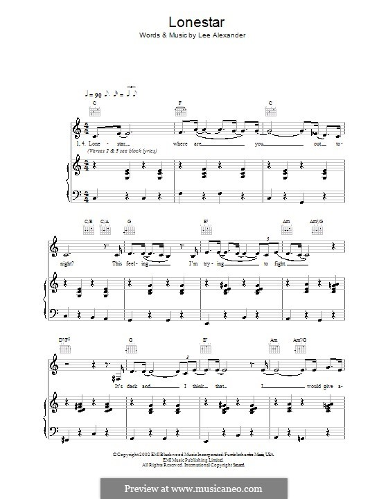 Lonestar (Norah Jones): For voice and piano (or guitar) by Lee Alexander