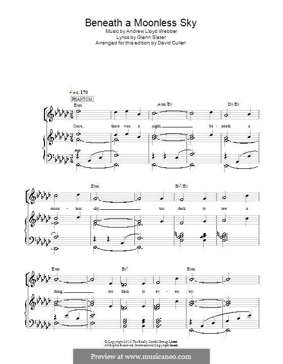Beneath a Moonless Sky: For voice and piano (or guitar) by Andrew Lloyd Webber