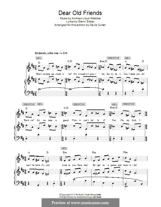 Dear Old Friends: For voice and piano (or guitar) by Andrew Lloyd Webber