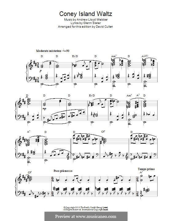 Coney Island Waltz: For voice and piano (or guitar) by Andrew Lloyd Webber