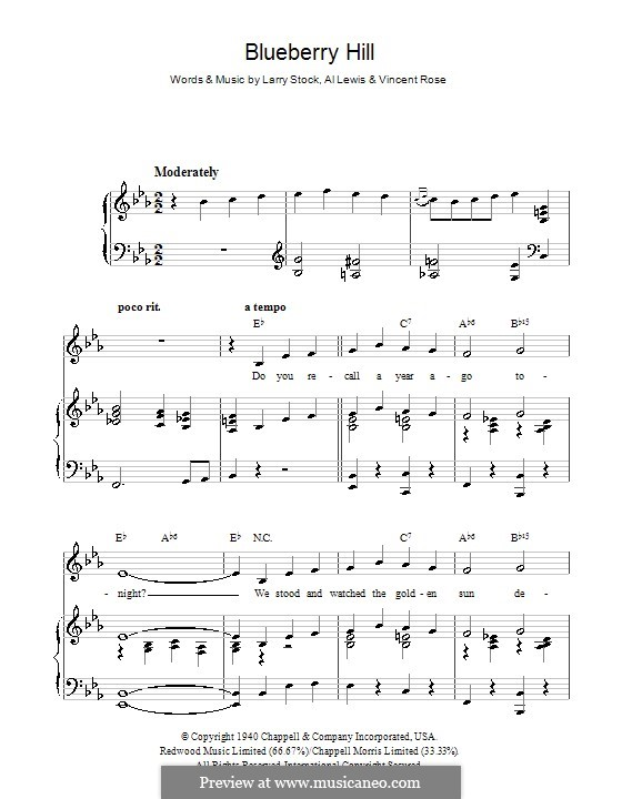 Blueberry Hill (Fats Domino): For voice and piano (or guitar) by Al Lewis, Larry Stock, Vincent Rose