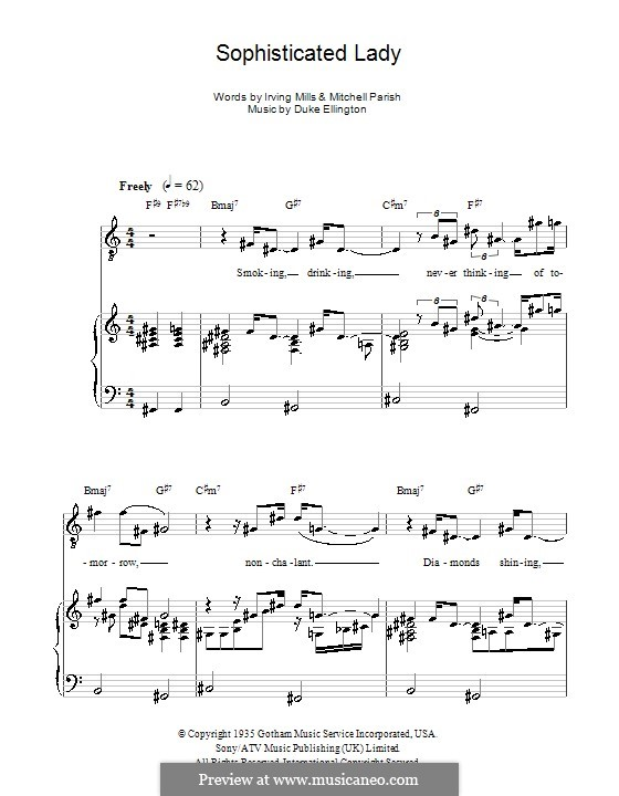 Sophisticated Lady: For voice and piano (or guitar) by Irving Mills, Duke Ellington, Mitchell Parish