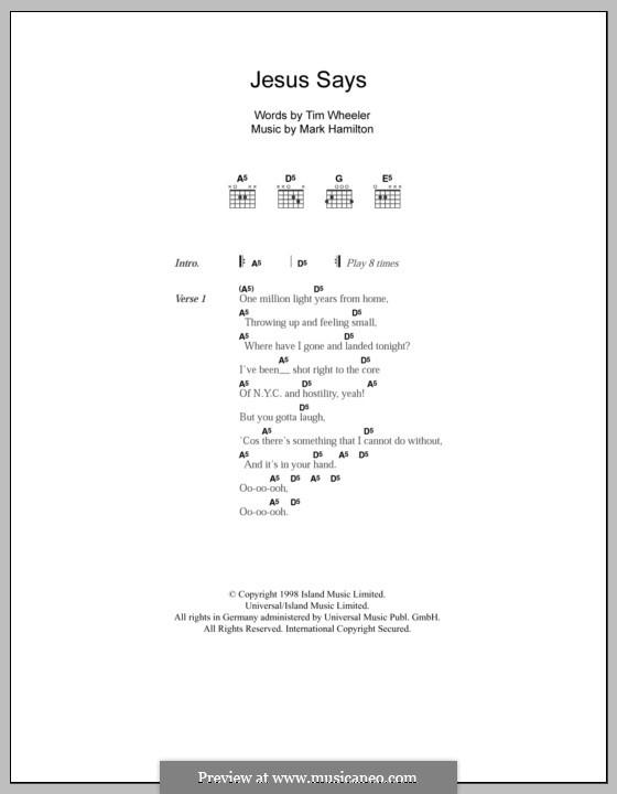 Jesus Says (Ash): Lyrics and chords by Mark Hamilton