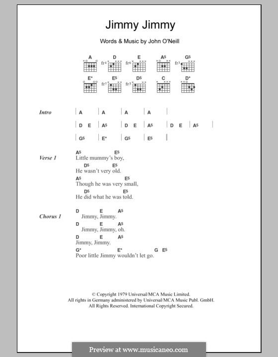 Jimmy Jimmy: Lyrics and chords by John O'Neil