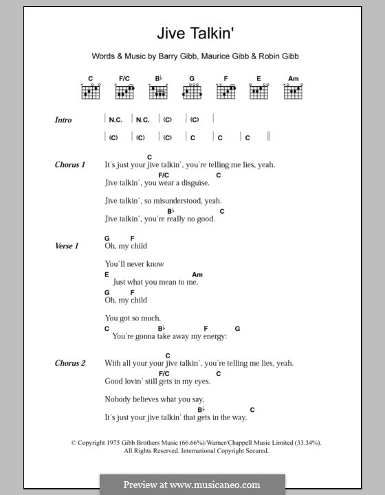 Jive Talkin' (The Bee Gees): Lyrics and chords by Barry Gibb, Maurice Gibb, Robin Gibb