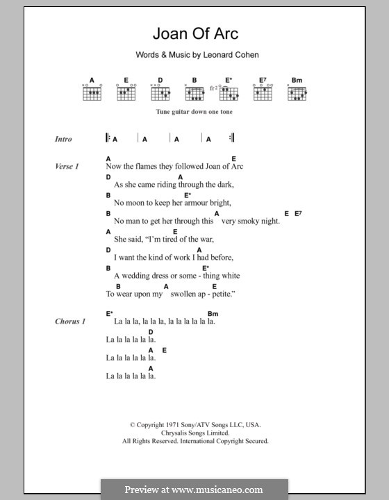 Joan of Arc: Lyrics and chords by Leonard Cohen