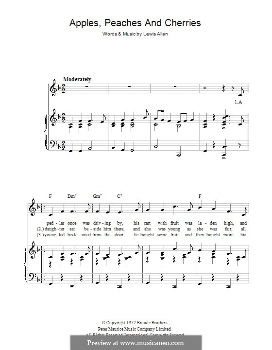 Apples, Peaches and Cherries (Peggy Lee): For voice and piano (or guitar) by Lewis Allan