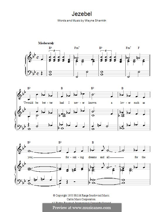 Jezebel: For voice and piano (or guitar) by Wayne Shanklin