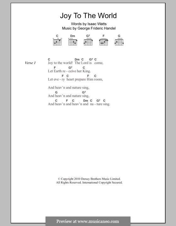 Joy to the World (Printable Scores): Lyrics and chords by Georg Friedrich Händel