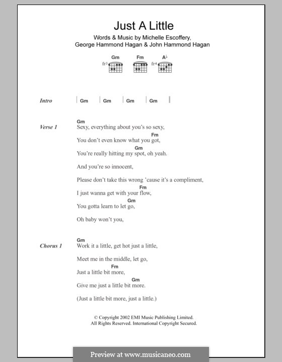 Just a Little (Liberty X): Lyrics and chords by George Hammond Hagan, John Hammond Hagan, Michelle Escoffery