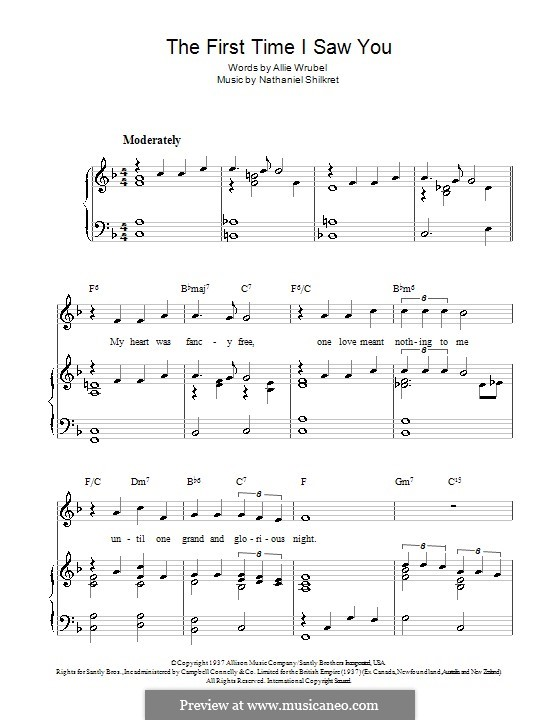 The First Time I Saw You (Gracie Fields): For voice and piano (or guitar) by Nathaniel Shilkret