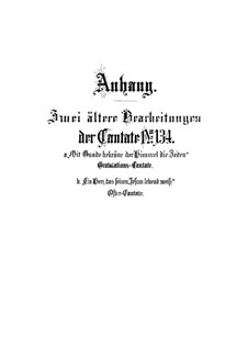 Ein Herz, das seinen Jesum lebend weiss (A Heart that Knows its Jesus is Living), BWV 134: Supplement by Johann Sebastian Bach