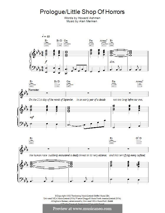 Prologue (from Little Shop of Horrors): For voice and piano (or guitar) by Alan Menken