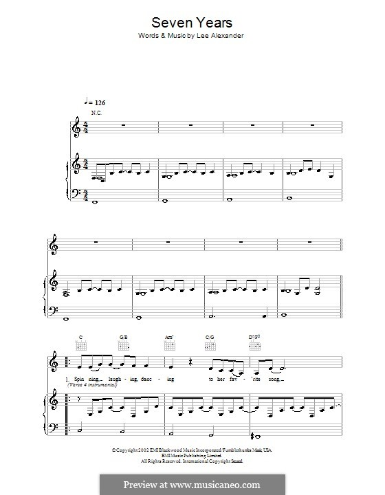 Seven Years (Norah Jones): For voice and piano (or guitar) by Lee Alexander