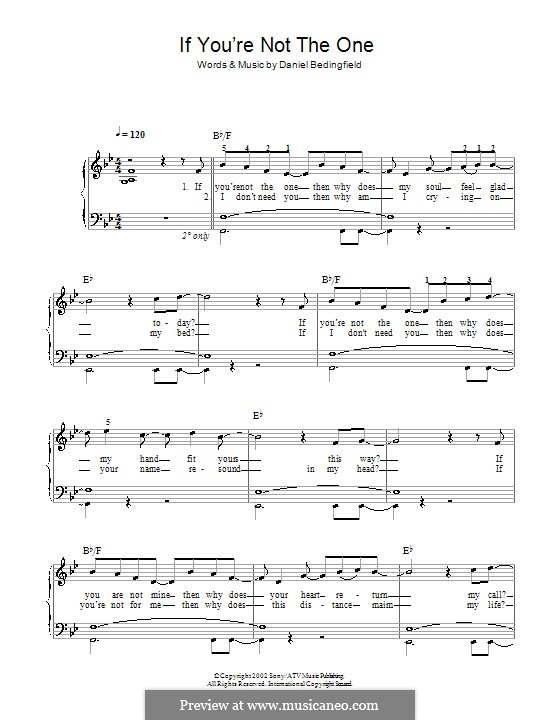 If You're Not The One: For easy piano by Daniel Bedingfield