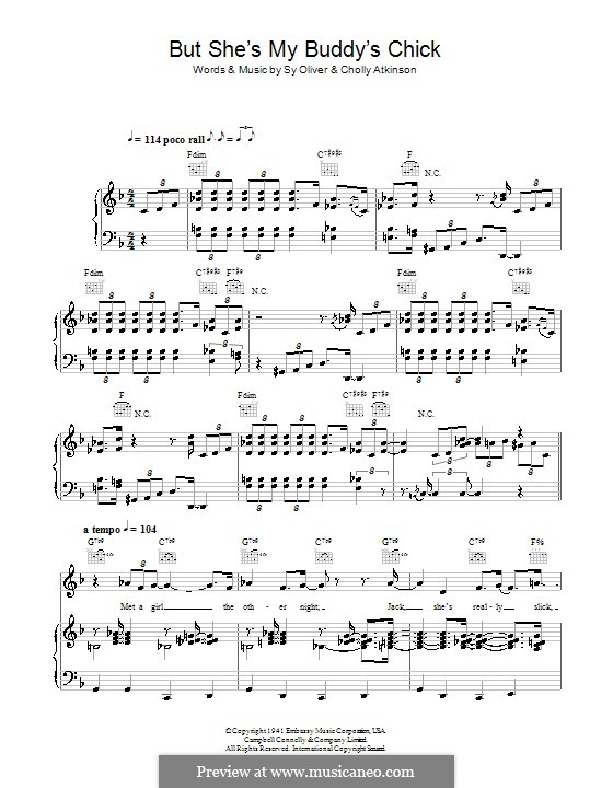 But She's My Buddy's Chick: For voice and piano (or guitar) by Cholly Atkinson, Sy Oliver