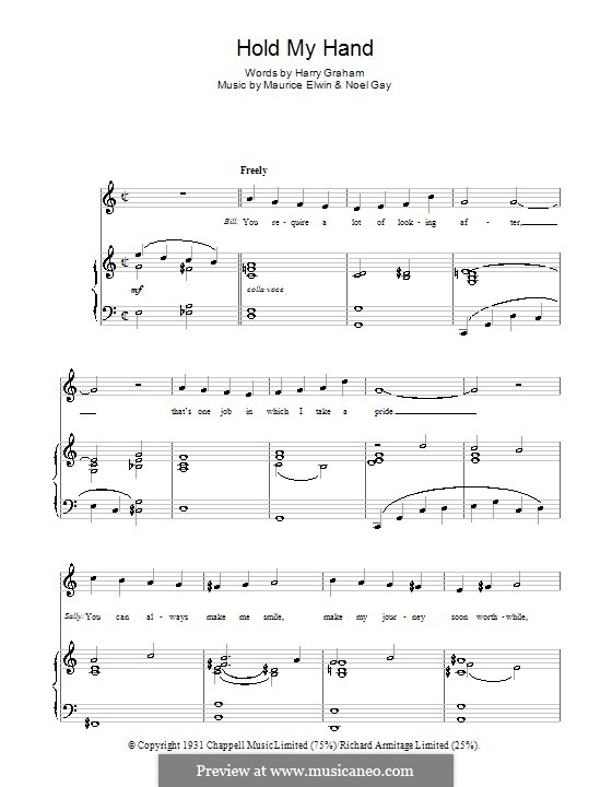 Hold My Hand (from Me and My Girl): For voice and piano (or guitar) by Maurice Elwin, Noel Gay