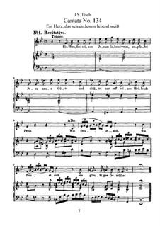 Ein Herz, das seinen Jesum lebend weiss (A Heart that Knows its Jesus is Living), BWV 134: Arrangement for voices and piano by Johann Sebastian Bach