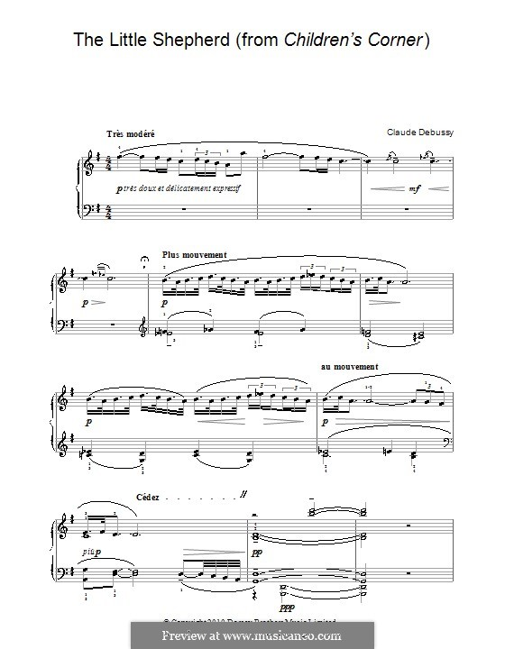 No.5 The Little Shepherd: For piano (with fingering) by Claude Debussy